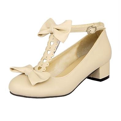 2e2b41746b7e5 Agodor Women's Mid Block Heel T Strap Pumps with Bowtie Cute Closed Toe  Shoes Beige