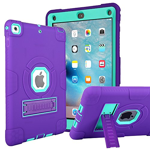 CaseHaven New iPad 9.7 Inch 2018/2017 Case, Dominator Series - Drop Protection, Three-Layer Full-Body Rugged Hybrid Protective Kids Adult Case with Kickstand for iPad 9.7 (2018/2017) - Purple Teal