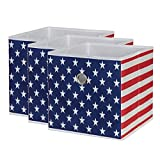 SbS Collapsible Foldable Fabric Storage Boxes, Cubes, Bins, Baskets. American Flag pattern (3 Pack). Each Storage Bin Measures 11 inches on all sides
