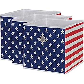 sbs collapsible foldable fabric storage boxes cubes bins baskets american flag. Black Bedroom Furniture Sets. Home Design Ideas