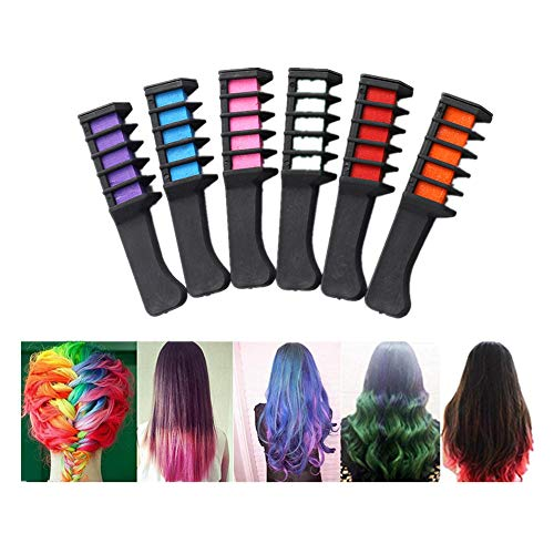 Weiyun DIY Hair Chalk Spa Christmas Birthday Gifts - Girl Kids Crayons Hair Decor - Temporary Comb Non Toxic Safe Washable Hair - Dye Powder With Salon Hair Mascara for Dyeing Party Cosplay, 6 Colors