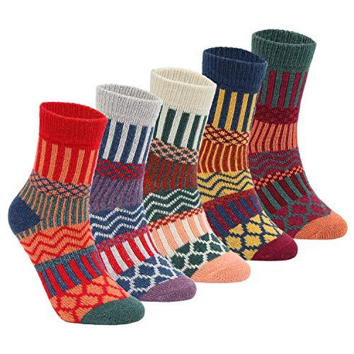 Yannik Women's 5 Pair Pack Vintage Style Cotton Crew Socks (SK32-1-C) (Funky Socks Women Cotton)