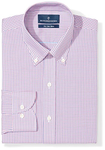 BUTTONED DOWN Men's Slim Fit Button-Collar Pattern Non-Iron Dress Shirt, Berry/Red/Navy Tattersall Micro Check, 15