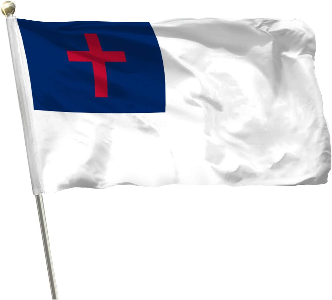 MOFAN Christian Flag Church Polyester Durable and Vivid Bright Color Christian Cross Religious Flags with 2 Solid Brass Grommets Indoor/Outdoor Home Garden Decoration 3x5ft