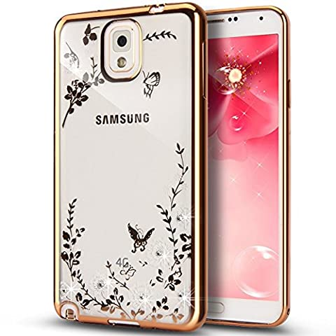 Rejected all traditions Luxury Fashion Bling Flowers Diamond Rose Clear Case Silicone Cover Back Shell for Samsung Galaxy Note 4(Gold + White (Note 4 Case Of Rats)
