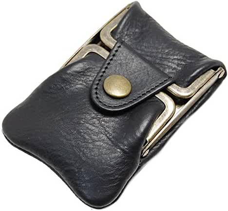 Masago Men's Made in Japan Minerva Box Leather coin purse M-601 Black