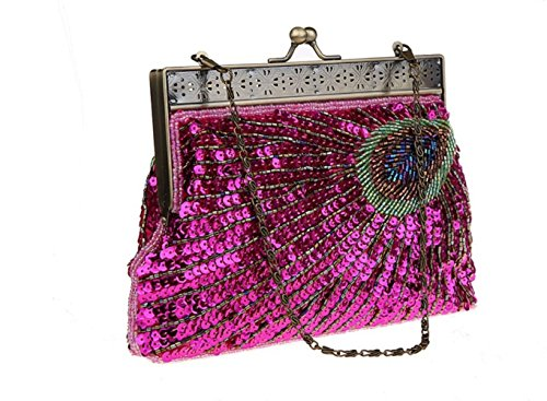Bag Clutch FZHLY Beaded Peacock Bag Qipao Pop Party Dinner Women Bag Bag Rosered Vintage Evening xv1ST