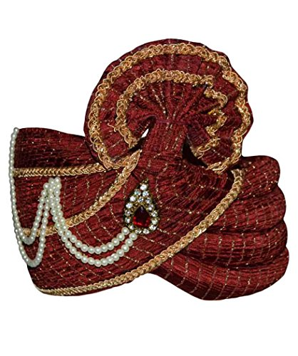 INMONARCH Mens Wedding Turban pagari Safa Hat For Partywear TU2169 22-Inch Maroon by INMONARCH