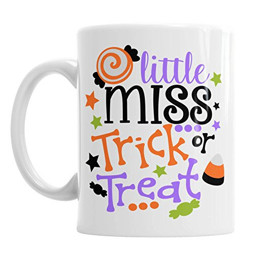 SAYOMEN - Trick Or Treat Mug - Little Miss Mug - Fun Halloween Mug - Halloween Mugs - Cute Halloween Mug - Fall Coffee Mug - Trick Or Treat - Fall Mug MUG 11oz -
