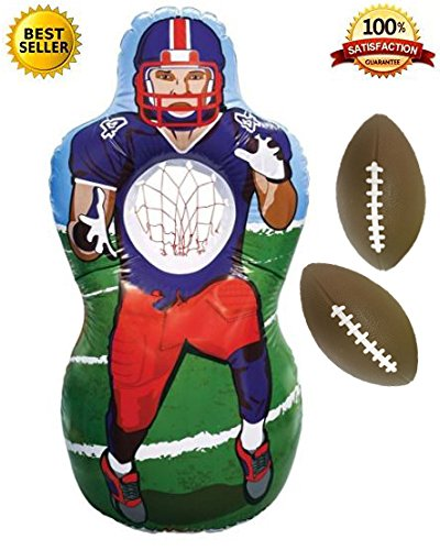 Premium Inflatable Football Target Set - Inflates to 5 Feet Tall! - 2x Mini Footballs Included! - Bonus Flag Football eBook!