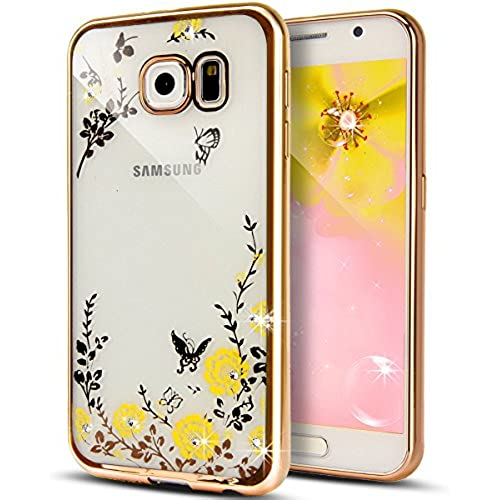 Galaxy S7 Case,NSSTAR Yellow Butterfly Floral Flower Bling Crystal Rhinestone Diamond Clear Back Rubber Golden Sales
