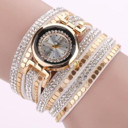 Fashion Women Watch Bracelet Crystal Leather Dress Analog Quartz Wrist Watches, 100% brand new and high quality (White) - Fossil Superman Watch