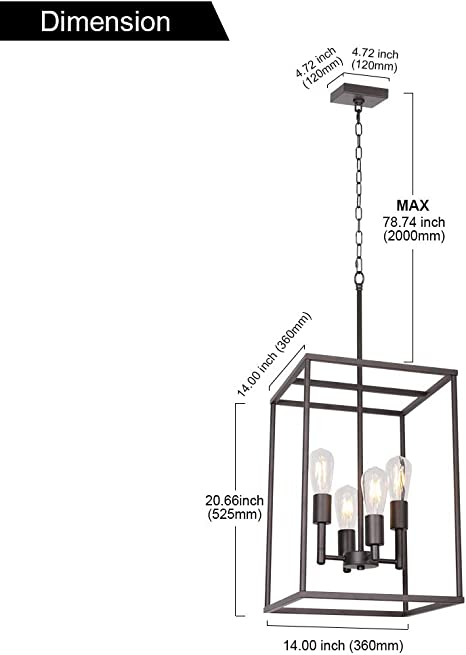 VINLUZ Classic Foyer Pendant Lighting 6 Light Black Farmhouse Chandelier Finish with Square Cage Shades Fixtures for Kitchen Dining Room Entryway