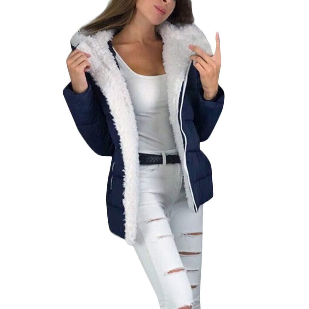 Coupondeal Fashion Women Winter Thicken Coats Long Sleeve Warm Jacket Outerwear Zipper Coat(Blue,XXXXL) by Coupondeal