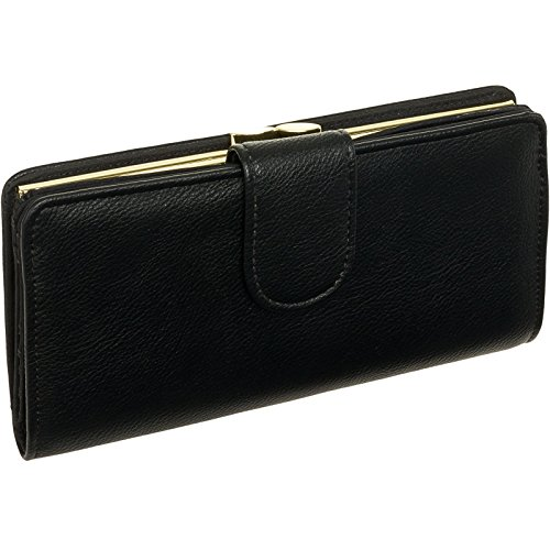 Mundi Women Leather Suburban Rio Clutch Checkbook Wallet (Black w/Gold - Wallet Checkbook Ladies Black
