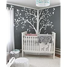 """Large tree decal Huge White Tree wall decal Stickers Corner Wall Decals Wall Art Tattoo Wall Mural Decor 94""""x73"""""""