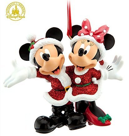Disney Holiday Santa Mickey & Minnie Mouse Ornament - Disney Theme Parks Exclusive & Limited Availability (Mickey Mouse And Ornaments Minnie Christmas)