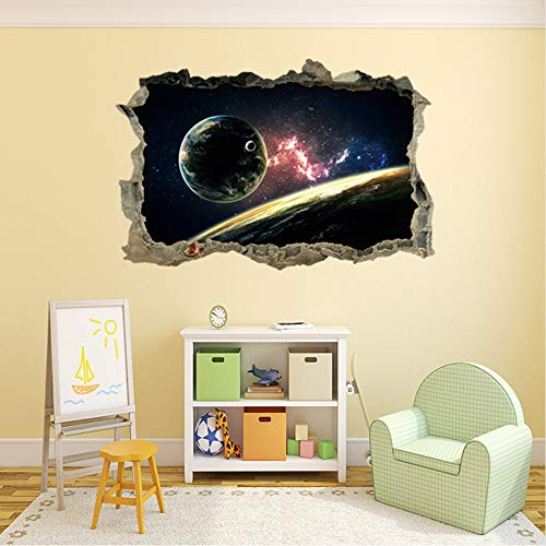 Mznm Cosmic Planet Wall Stickers Kids Rooms Bedroom 3D Sticker Home Decor Stickers Mural Infantil