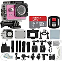4K HD DV 16MP Sports Action Camera, (Pink) - Wi-Fi + Wrist RF + 170° Wide Angle Lens + Waterproof Case & Backdoor + SanDisk 32GB Memory Card + Bike Mount + Clip Holder + Ultimate Accessory Bundle