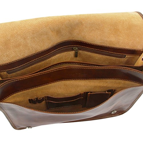 Tuscany Leather Messenger double Tasche mit Laptopfach aus Leder Dunkelbraun Braun