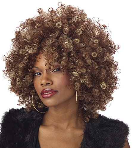Foxy Brown Afro Costume (UHC Women's Afros Mama Fine Foxy Curly Afro Hair Wig Halloween Costume Accessory)