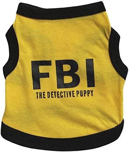 WYJW Ropa para Mascotas Pet Chaleco de algodón Ropa Estampada FBI ...
