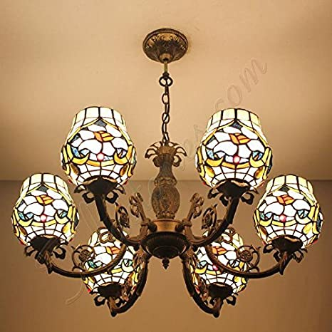 Florero de cristal de Bohemia araña de lámparas Tiffany ...
