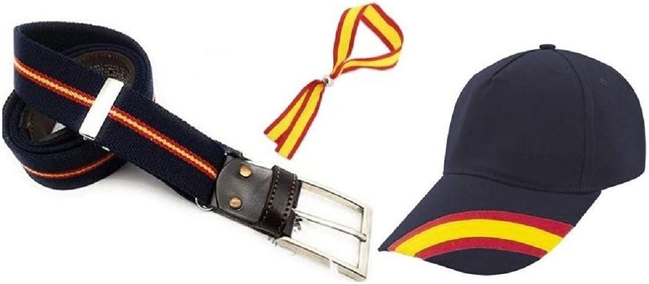 Cinturón ajustable hombre Bandera España, elástico, piel vacuno y Gorra con los colores de España. Regalo pulsera España: Amazon.es: Ropa y accesorios