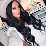 K'ryssma #1B Natural Black Lace Front Wig 150% Density Soft Glueless Long Wavy Synthetic Wigs For Women Heat Resistant 18 inches