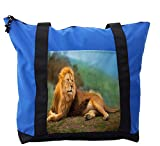 Lunarable Africa Shoulder Bag, Lion on the Mountain Top, Durable with Zipper