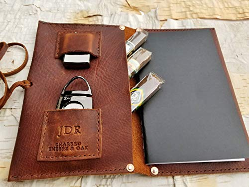 Large Leather Cigar Case w/Field Notes Book