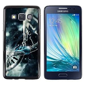 Planetar® ( Estructura del ADN Art Dibujo azul Molécula ) Samsung Galaxy A3 Fundas Cover Cubre Hard Case Cover