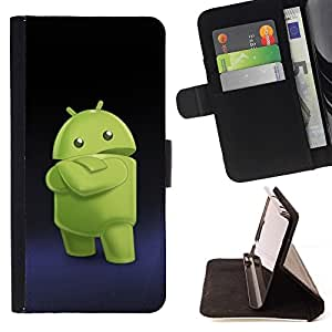 BETTY - FOR HTC One M7 - Green Smartphone Alien - Style PU Leather Case Wallet Flip Stand Flap Closure Cover