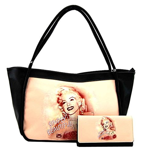 Marilyn Monroe Large Purse and Wallet Set, Simply Beautiful, Plus Keychain, MM994-SET