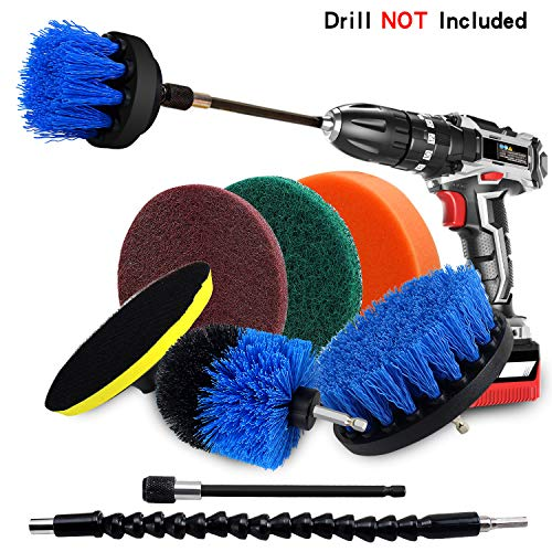 (Drill Brush Power Scrubber Cleaning Kit, 9 Pack Cleaner Scrubbing Brushes Attachments for Bathroom Surface, Carpet, Grout, Tile, Tub, Shower, Kitchen, Auto, Boat Fiberglass (Blue))