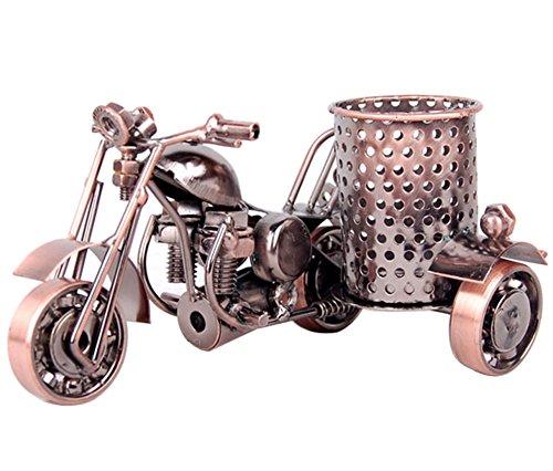 Handmade Motorcycle Model Pen Pencil Holder, Creative Office Desktop Accessories, Funny Metal Crafts Home Decoration (Motorcycle Pen)