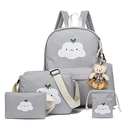 80df11a8625f Amazon.com: Travel Backpack Stylish Cute Clouds Printing 4 Pcs Teens ...