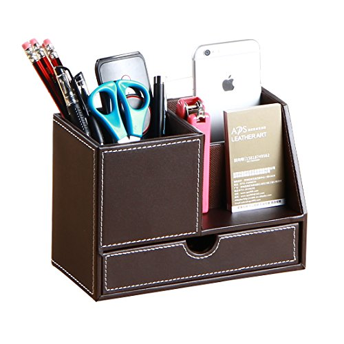 PU Leather Multi-Function Desk Pen Pencil Holder Office Stationery Organizer Storage Box Business Cards/Mobile Phone/Remote Control Holder Desktop Accessories Organizer (Brown-Large)
