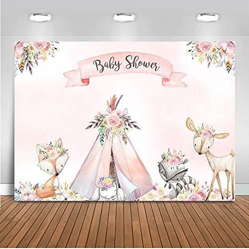 Mehofoto Woodland Baby Shower Backdrop Flower Boho Teepee