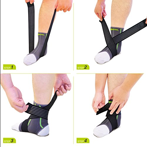 SENTEQ Ankle Brace Support Sleeve - Medical Grade & FDA Approved. Ankle Stabilization Sleeve with Strap and Heel Compression Wrap with Gel Padding Provides Support for Joints and Muscles. (SQ2 N003 S) by SENTEQ (Image #4)