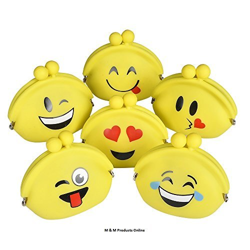 6 Emoji Face Rubber Coin Purse