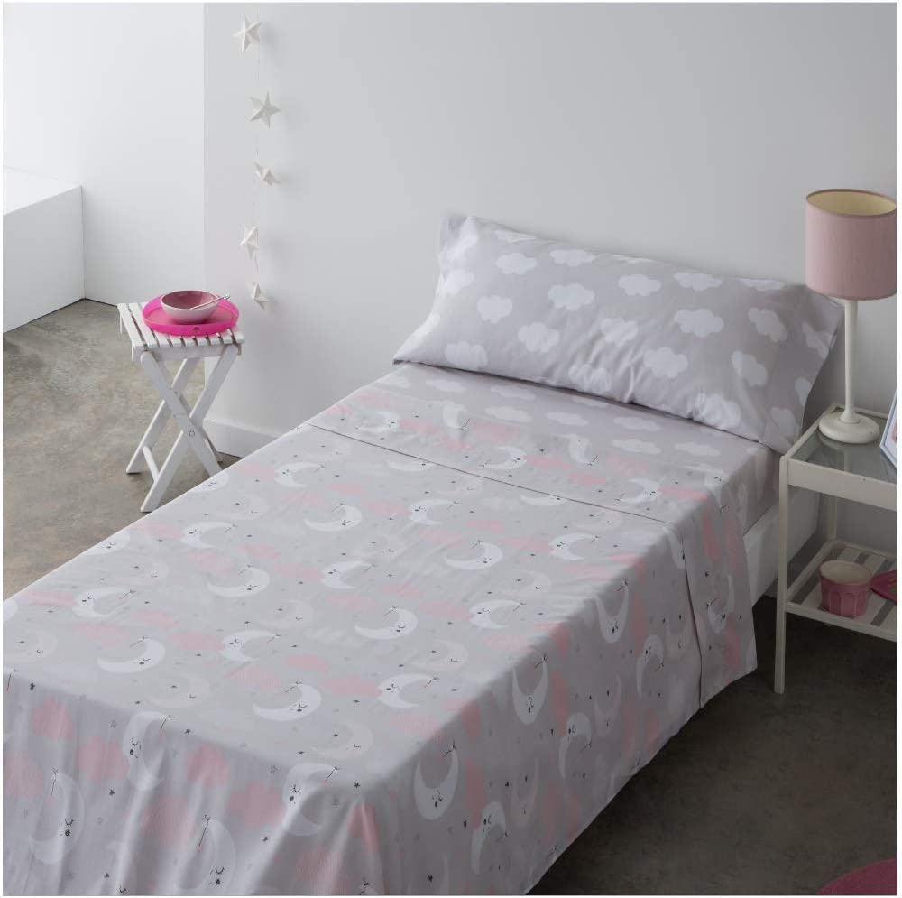 COTTON ARTean Juego de sabanas Infantil//Juvenil Moon Pink Cama de 105 x 190//200 100/% ALGOD/ÓN.