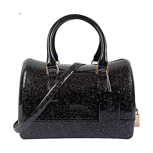 Bag coloured A clear Black2 PVC Handbag Borsa Semi GODW Candy Spalla Tracolla Boston Jelly Donna Fashion A 0wz1q