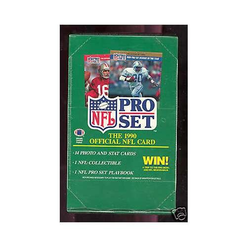 Vintage Unopened Box (1990 ProSet Football Wax Pack Box series 1 Pro Set FACTORY SEALED)