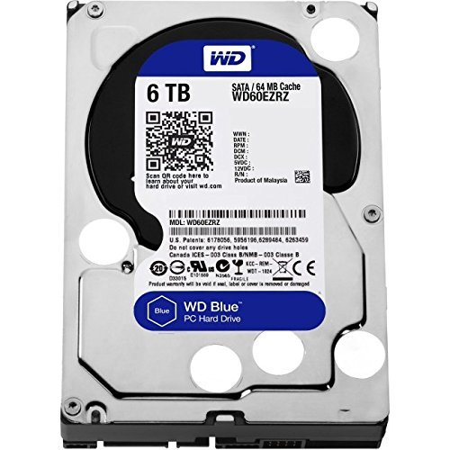 WD Blue 6TB Desktop Hard Disk Drive - SATA 6 Gb/s 64MB Cache 3.5 Inch - WD60EZRZ by Western Digital