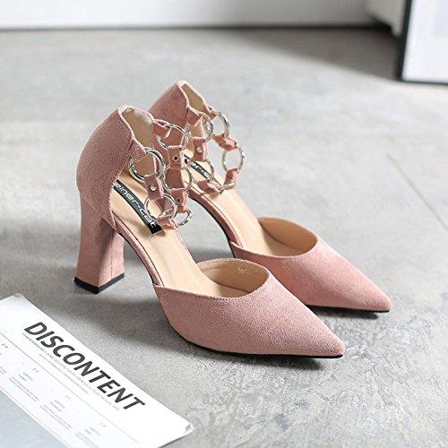 alti satinato di in i 39 Tirante scarpe scarpe metallo con singole cava con molla donna scarpe punta tacchi scarpe una spesso rosa sandali di con asolato la qUBUxSY8w