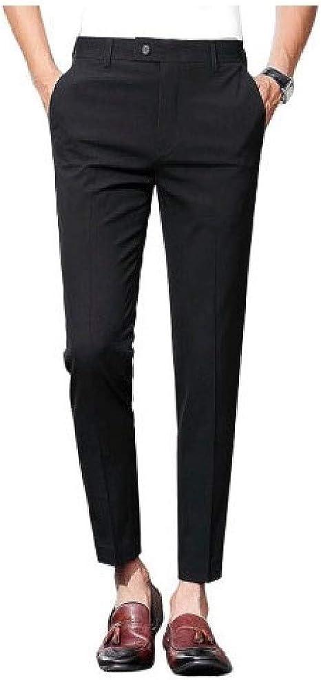 VITryst メンズポケット クラシック ミッドライズ ボタン フラットフロント ピュアカラースーツ トラウザーズ