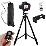 Hi-tec 55 Inch Aluminum Professional Portable Cell Phone Tripod for Iphone, Cell phone and Camera with Phone Mount Holder + Remote Shutter+Bag (Black)