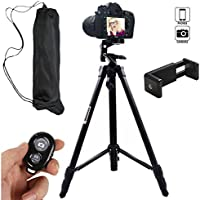 Hi-tec 55 Inch Aluminum Professional Portable Cell Phone Tripod for Iphone, Cell phone and Camera with Phone Mount Holder + Remote