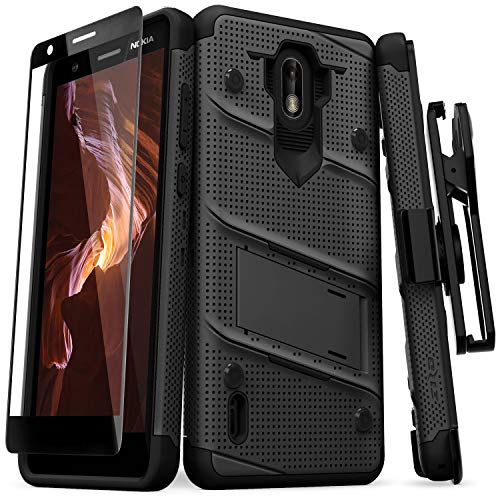 Nokia Series - Zizo Bolt Series Compatible with Nokia 3.1 C Case Military Grade Drop Tested with Full Glass Screen Protector Holster and Kickstand Black Black